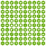 100 digital marketing icons hexagon green. 100 digital marketing icons set in green hexagon isolated vector illustration Royalty Free Stock Image