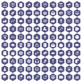 100 digital marketing icons hexagon purple. 100 digital marketing icons set in purple hexagon isolated vector illustration stock illustration