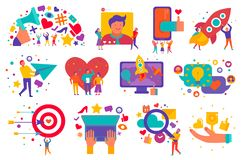 Digital Marketing Icons Set. With advertising media search of creative decisions start up support isolated vector illustration stock illustration