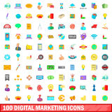 100 digital marketing icons set, cartoon style. 100 digital marketing icons set in cartoon style for any design vector illustration vector illustration