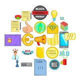 Digital marketing icons set, cartoon style. Digital marketing icons set. Cartoon set of 25 digital marketing vector icons for web isolated on white background Royalty Free Stock Images
