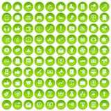 100 digital marketing icons set green circle. Isolated on white background vector illustration Stock Photo