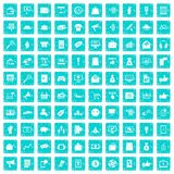 100 digital marketing icons set grunge blue. 100 digital marketing icons set in grunge style blue color isolated on white background vector illustration Royalty Free Stock Images