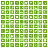 100 digital marketing icons set grunge green. 100 digital marketing icons set in grunge style green color isolated on white background vector illustration Royalty Free Stock Photo