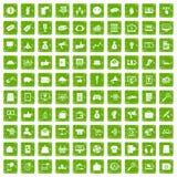 100 digital marketing icons set grunge green Royalty Free Stock Photo