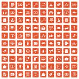 100 digital marketing icons set grunge orange. 100 digital marketing icons set in grunge style orange color isolated on white background vector illustration Stock Image