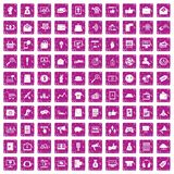 100 digital marketing icons set grunge pink. 100 digital marketing icons set in grunge style pink color isolated on white background vector illustration Stock Illustration