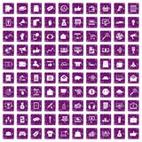 100 digital marketing icons set grunge purple. 100 digital marketing icons set in grunge style purple color isolated on white background vector illustration Stock Photography
