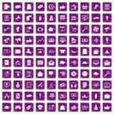 100 digital marketing icons set grunge purple. 100 digital marketing icons set in grunge style purple color isolated on white background vector illustration Vector Illustration