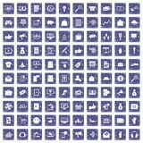 100 digital marketing icons set grunge sapphire. 100 digital marketing icons set in grunge style sapphire color isolated on white background vector illustration Vector Illustration