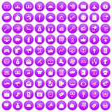 100 digital marketing icons set purple. 100 digital marketing icons set in purple circle isolated on white vector illustration vector illustration