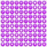 100 digital marketing icons set purple. 100 digital marketing icons set in purple circle isolated on white vector illustration Stock Photography