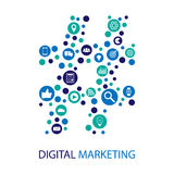 Digital marketing  illustration flat design Stock Photography