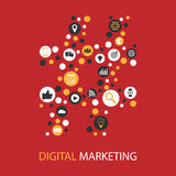 Digital marketing  illustration flat design Royalty Free Stock Image