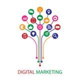 Digital marketing illustration. Flat design Stock Image