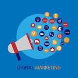 Digital marketing illustration with megaphone. Flat design Royalty Free Stock Photo