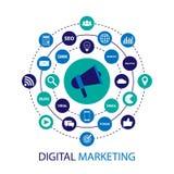 Digital marketing illustration with megaphone. Flat design Royalty Free Stock Photo