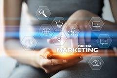 Digital-Marketing-Inhalts-Planungs-Werbestrategiekonzept stockfotografie