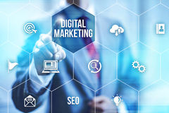 Digital marketing. Interactive digital marketing channels illustration stock image