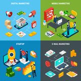 Digital Marketing 2x2 Isometric Concept. Digital online and mobile marketing and business start up tools 2x2 isometric concept on colorful background 3d isolated Stock Photo