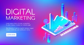 Digital marketing isometric vector illustration. Digital marketing vector illustration of business market research and development. Isometric data infographic of royalty free illustration