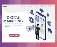 Digital Marketing Landing Page Design royalty free illustration