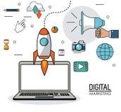 Digital marketing laptop innovation internet social media network. Vector illustration Stock Photos