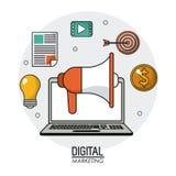 Digital marketing laptop loudspeaker multimedia network. Vector illustration Stock Images