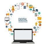 Digital marketing laptop technology network online. Vector illustration Royalty Free Stock Image