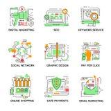 Digital Marketing Linear Elements Set Stock Photos