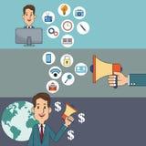 Digital marketing man network money social media. Vector illustration eps 10 Stock Photography