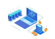 Digital marketing management. 3d coin, servers and laptops. royalty free illustration