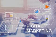 Digital Marketing manager working on social media network, internet website, mobile and email advertisement communication campaign