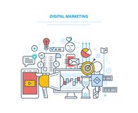 Digital marketing, media planning, social media, online business and purchasing. Digital marketing, media planning, social media and network, online business Royalty Free Stock Image