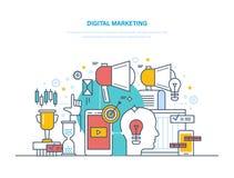 Digital marketing, media planning, social media, online business and purchasing. Digital marketing, media planning, social media and network, online business Stock Photos