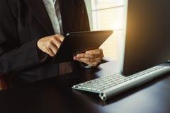 Digital marketing media in virtual screen.business stock photography