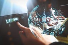 Digital marketing media (website ad, email, social network, SEO, video, mobile app) in virtual globe shape diagram. StartUp Programming Team. Website designer royalty free stock images