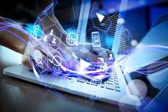 Digital marketing media (website ad, email, social network, SEO, video, mobile app) in virtual globe shape diagram. Waves of blue light and businessman using on vector illustration