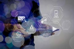 Double exposure of businessman hand using Tablet computer with c royalty free stock photo