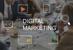 Digital-Marketing-Medientechnik-Grafik-Konzept stock abbildung