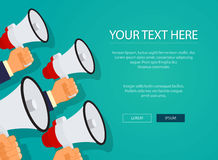 Digital marketing with a megaphones concept flat design Royalty Free Stock Photography