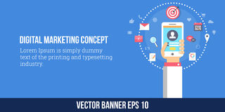Digital marketing, mobile marketing strategy. Flat design vector banner. Modern concept of digital marketing, engaging customers with different strategies like Stock Photo