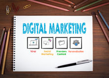 Digital Marketing. Notebooks, pen and colored pencils on a wooden table. Royalty Free Stock Photo