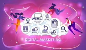Digital Marketing. People Flying Around of Cloud. royalty free illustration