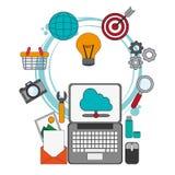 Digital marketing placement optimize work. Vector illustration eps 10 Royalty Free Stock Image