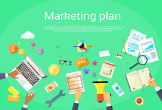 Digital Marketing Plan Creative Team Flat Vector Stock Photography