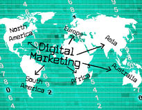 Digital Marketing Represents High Tec And Computer. Digital Marketing Meaning High Tec And Selling Royalty Free Stock Photos