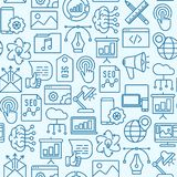 Digital marketing seamless pattern. With thin line icons: searching idea, development, optimization, management, communication. Vector illustration for banner vector illustration