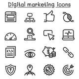 Digital marketing & SEO icon set in thin line style. Illustration Royalty Free Stock Image