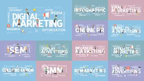 Digital marketing set. stock illustration
